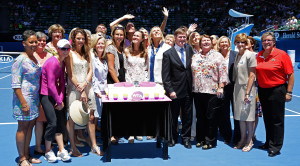 More than 30 WTA greats, including former singles World No.1s Margaret Court, Martina Navratilova, Martina Hingis and Lindsay Davenport joined WTA Chairman &amp; CEO Stacey Allaster and Tennis Australia President Steve Healy to celebrate the WTAs 40 LOVE anniversary on Rod Laver Arena, January 24, 2013. Rights free but please credit Fiona Hamilton.