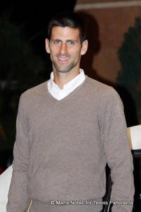 Novak Djokovic at BNP Paribas Open players' party