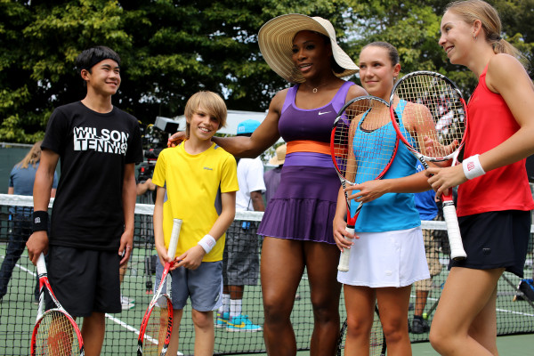 Serena Williams with Noah Makarome, aged 13 from Wesley Chapel, Dylan O'Brien, aged 12 from Altamonte Springs, Morgan Cooley, aged 14 from Boca Raton and Ashley Kratzer, aged 13 from Juno Beach. Photo by Robin Fenlon  