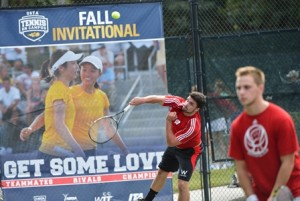 Wisconsin's Joe Gambucci hits a serve as teammate Alex Adler awaits the return. Photo by Peter Staples / USTA