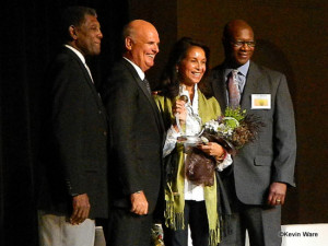 (L-R) Golden State Warriors legend Alvin Attles, USTA NorCal President Michael Cooke, Beyond the Baseline Icon Award recipient Jeanne Moutoussamy-Ashe, and D.A. Abrams, Chief Diversity & Inclusion Officer