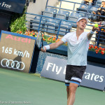Berdych prepares to serve