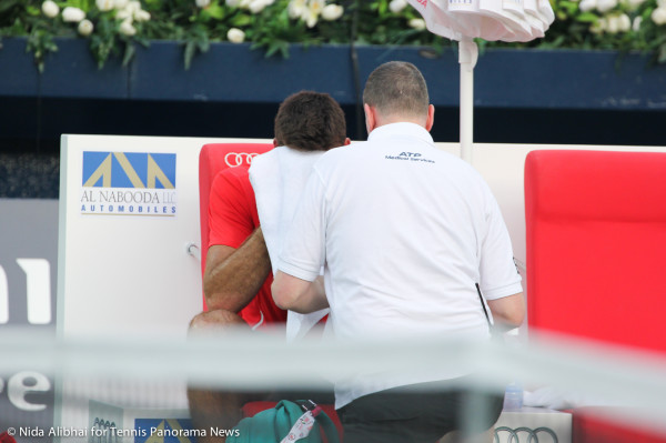 Del Potro on bench with towel to his face
