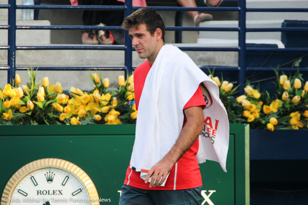 Del Potro walking to bench