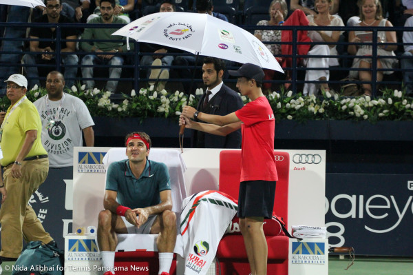 Federer and umbrella