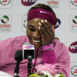 Serena laughs in press