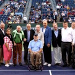 Left to right: Hall of Famers Mark Woodforde, Donald Dell, Butch Buchholz, Rosie Casals, Bud Collins, Roy Emerson, Brad Parks, Rod Laver, Hall of Fame President Stan Smith, Hall of Fame Chairman Christopher Clouser, Hall of Famer Charlie Pasarell, Hall of Fame CEO Mark Stenning, BNP Paribas Open Tournament Director Steve Simon, Charles Pasarell, Sr., and BNP Paribas CEO Ray Moore. Photo by Billie Weiss
