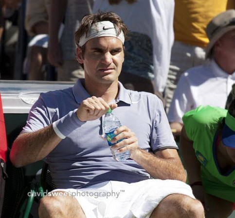Federer on changeover