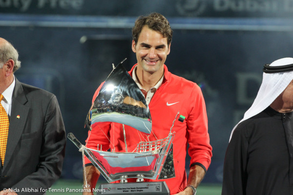 Smiling Federer with Trophy