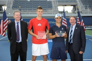 Peter Kobelt and Marcos Giron in the American Collegiate Invitational. Photo courtesy of the USTA