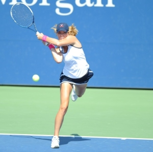 Danielle Rose Collins from the University of Virginia in action in the quarterfinals of the Women's Collegiate Invitational. Photo courtesy pf the USTA