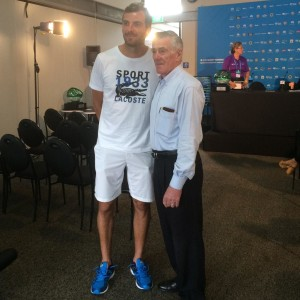 Julien Benneteau and Ken Rosewall at Sydney International draw ceremony
