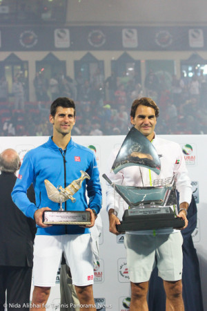 228 Djokovic Federer with trophies-001