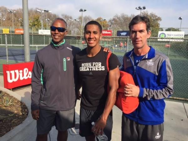 USTA Director of Player Development Martin Blackman, Michael Mmoh and his IMG Academy coach Glenn Weiner.  Photo by Steve Pratt