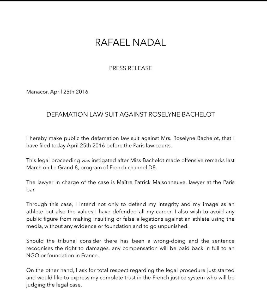 Rafael Nadal Press Release