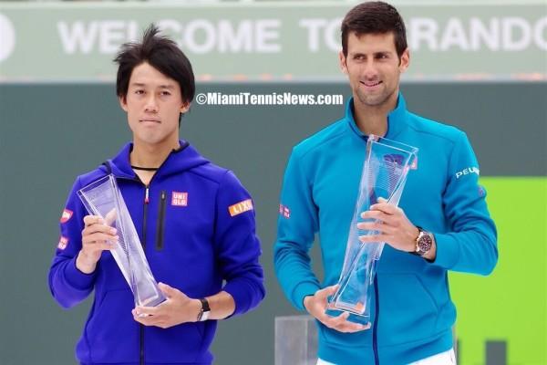 Kei Nishikori and Novak Djokovic photo courtesy of MiamiTennisNews.com