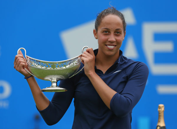 BIRMINGHAM, ENGLAND - JUNE 19: Madison Keys of United States celebrates with the Maud Watson trophy after her victory in the Women's Singles Final on day seven of the WTA Aegon Classic at Edgbaston Priory Club on June 19, 2016 in Birmingham, England.  (Photo by Steve Bardens/Getty Images for LTA) Used by permission Getty/LTA